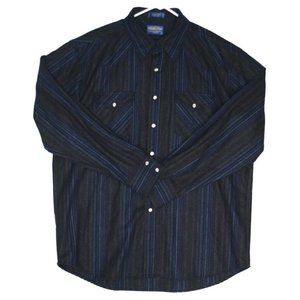 Pendleton Mens Western Blue Striped Canyon Shirt
